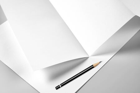 Blank Folded Sheet of Paper, Letterhead, or Flyer with Pencil