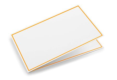 Blank Isolated Greeting or Thank you Card with Golden Frame over white Standard-Bild