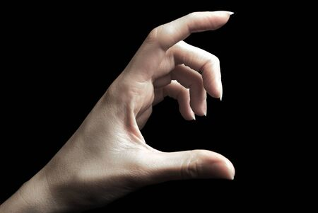 Hand gesture, holding something with two fingers