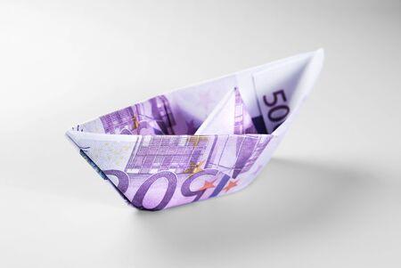 Five Hundred Euro Banknotes Boat over Grey Background Standard-Bild