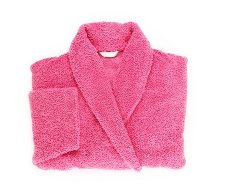 house robes: Pink double female bath robe Stock Photo