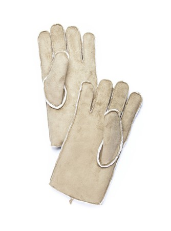 Two chamois man gloves isolated Stock Photo - 4156628