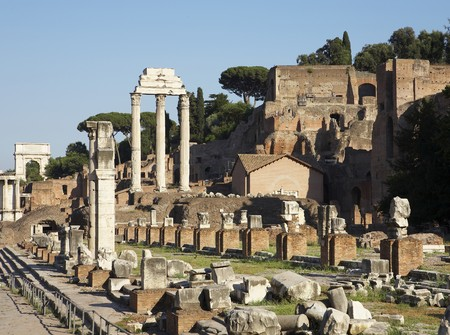 The Forum in Rome, Italy, showing the ruins of several temples
