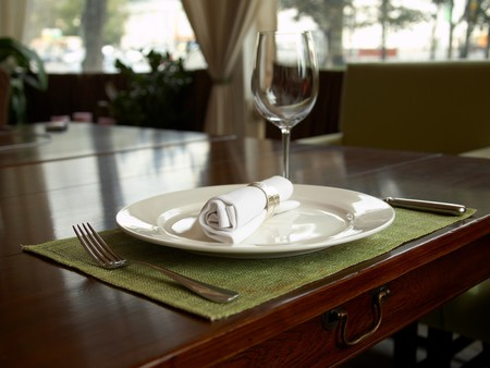 Fragment  of holiday dinner setting Stock Photo