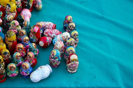 The Russian dolls on the green fabric Stock Photo - 4159283