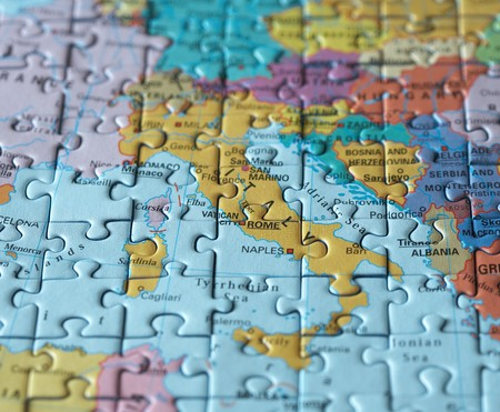Puzzle map: Rom and Italy macro photo