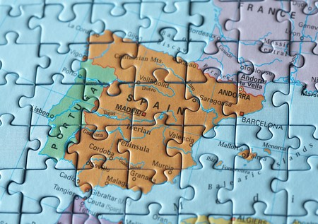 Puzzle map: Spain and nearby countries Stock Photo