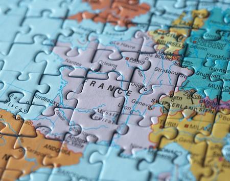 Puzzel kaart: Parijs en Frankrijk macro Stockfoto