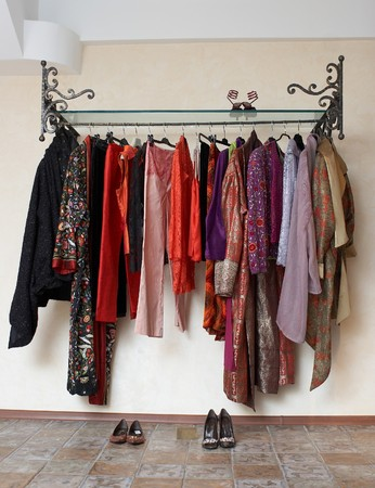 Lady clothing store interior with shelf