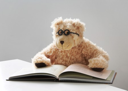 Teddy bear with glasses reads a book