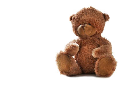 Teddybeer op witte achtergrond Stockfoto
