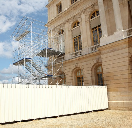 scalar: Versailles plaza in scaffolds on sky background