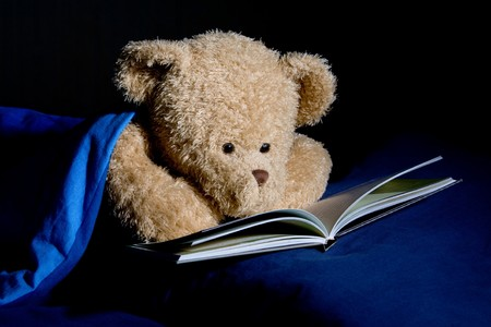Teddy bear reads a book in bed