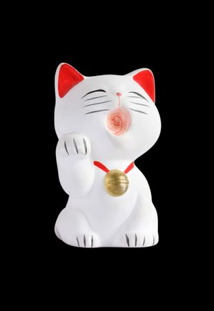 White asian fortune cat on black background photo