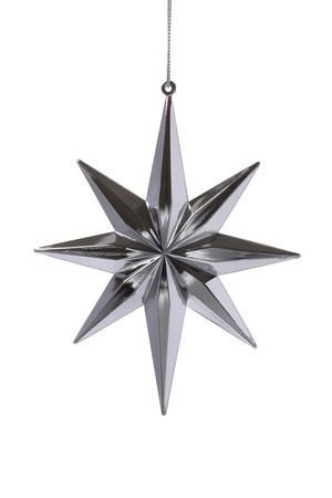 Christmas decoration silver star on white background