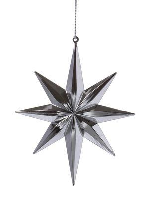 Kerst versiering silver star op witte achtergrond Stockfoto