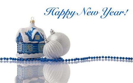 Christmas blue and silver decorations with beads on white with reflection