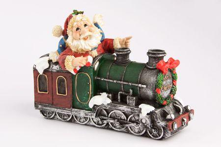 Christmas decoration figurine Santa on engine Standard-Bild