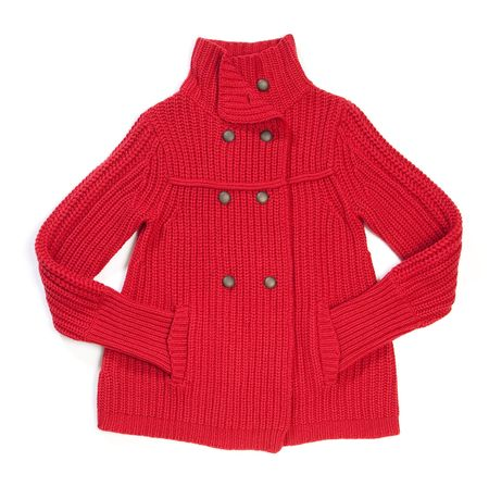 Red wool lady jacket on white Stock Photo - 6258032