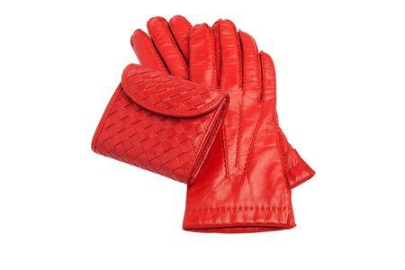 Rood lederen hand schoenen en portemonnee geïsoleerd op wit met uitknippad