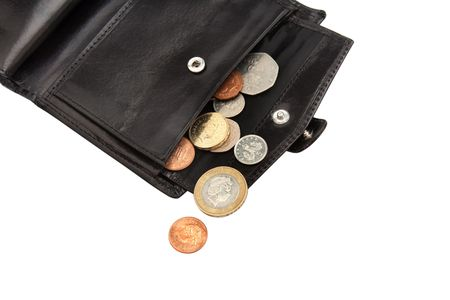 Part of open black wallet with coins on white  photo