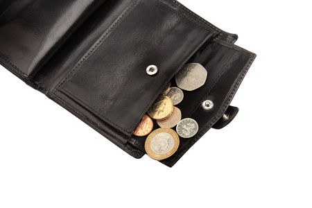 Part of open black wallet with coins on white with clipping path photo