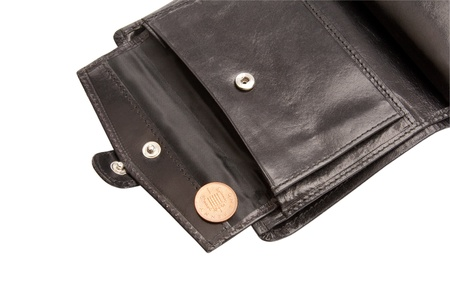 Part of open black wallet with coin on white with clipping path
