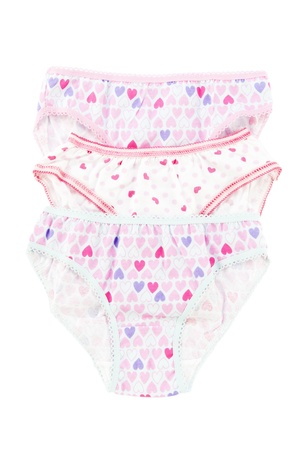 Underwear clothes set for baby girl isolated on white photo