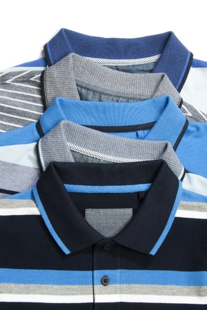 neck collar: Part of pile of Five man polo clothes Stock Photo