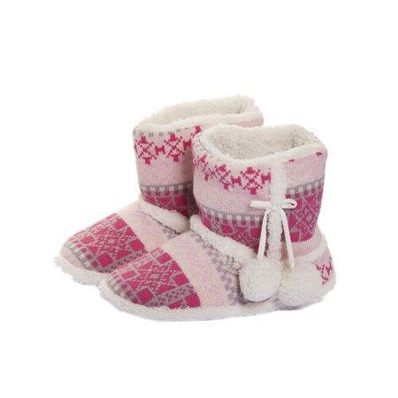 Home Knitted Ugg Boots With Fur Inside On White Stock Photo Picture