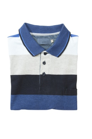 striped shirt: Folded man polo shirt on white isolated