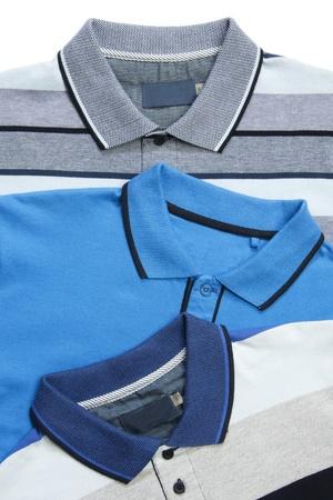 neck collar: Man polo shirts on white Stock Photo