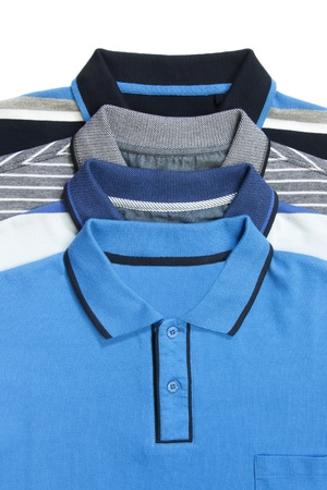 Part of some man polo shirts on white