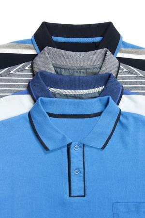 polo shirt: Part of some man polo shirts on white