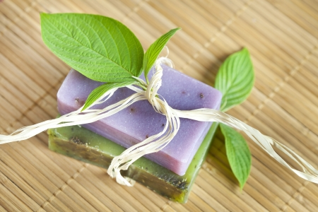 Two soap bars with natural ingredients Stock Photo - 13786792