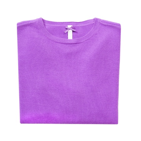 Lilac folded woman knitted blouse on white isolated photo