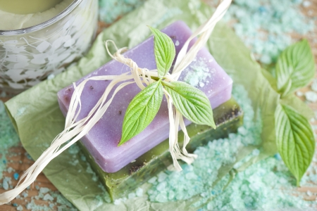 Two soap bars with natural ingredients photo