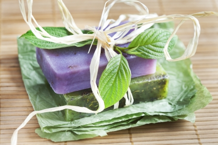 Two soap bars with natural ingredients Stock Photo - 14388248