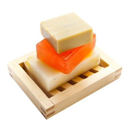 handmade soap: Three soap bars with natural ingredients