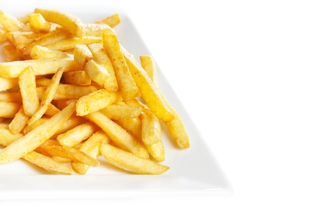 French fries potatoes in plate on white photo