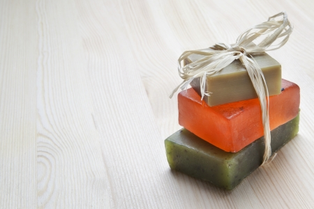 Three soap bars with natural ingredients  photo