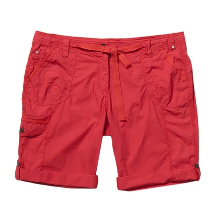 Red shorts with belt isolated on white  Standard-Bild