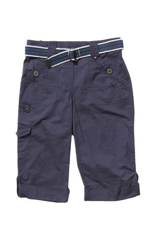 Blue shorts with belt isolated on white