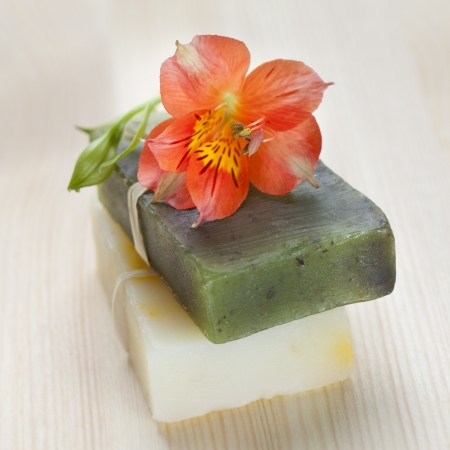 natural soap: Two soap bars with natural ingredients