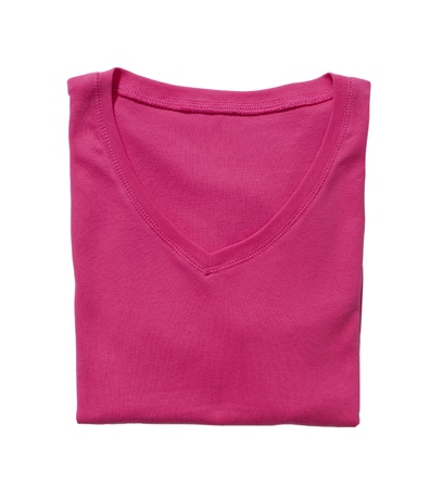 Folded pink t-shirt isolated on white