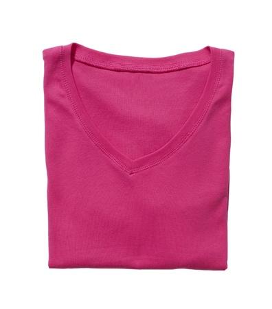 Folded pink t-shirt isolated on white