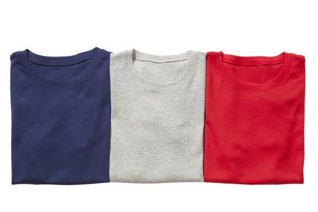 red shirt: Three folded t-shirts isolated on white