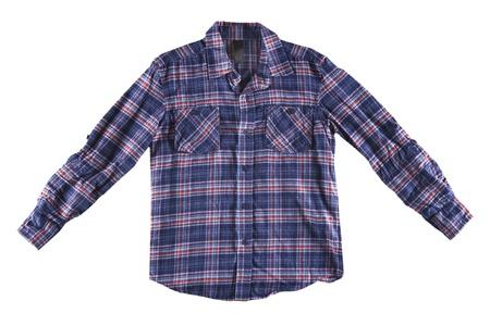 Blauwe en rode shirt geïsoleerd op wit