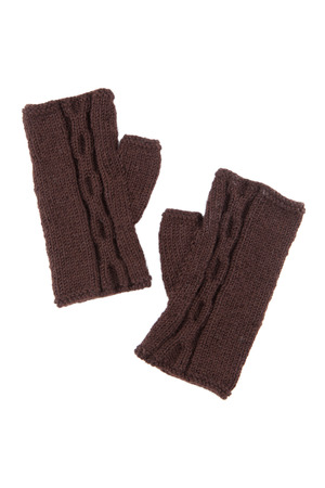 brawn: Brawn wool mitts on white isolated