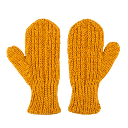 Yellow wool mittens on white isolated
